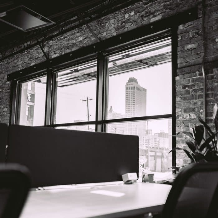 black and white downtown view